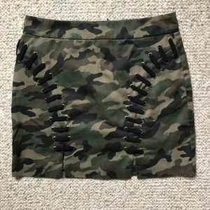 Forever 21 Camo Lace Up Mini Skirt